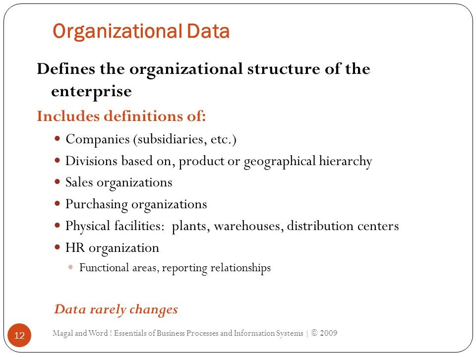 Types of Data in ES Organizational Data Master Data Transaction Data Magal and Word .