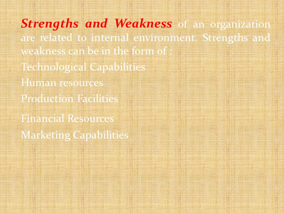 Strengths and Weakness of an organization are related to internal environment.