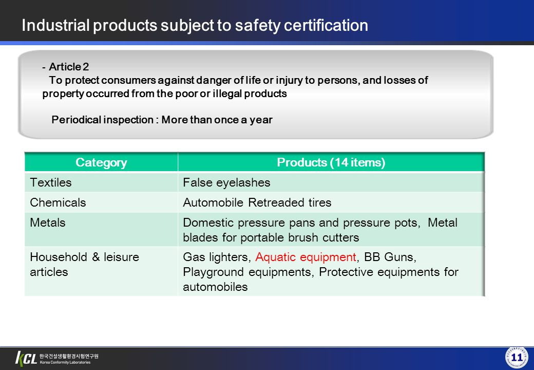 11 - Article 2 To protect consumers against danger of life or injury to persons, and losses of property occurred from the poor or illegal products Periodical inspection : More than once a year Industrial products subject to safety certification