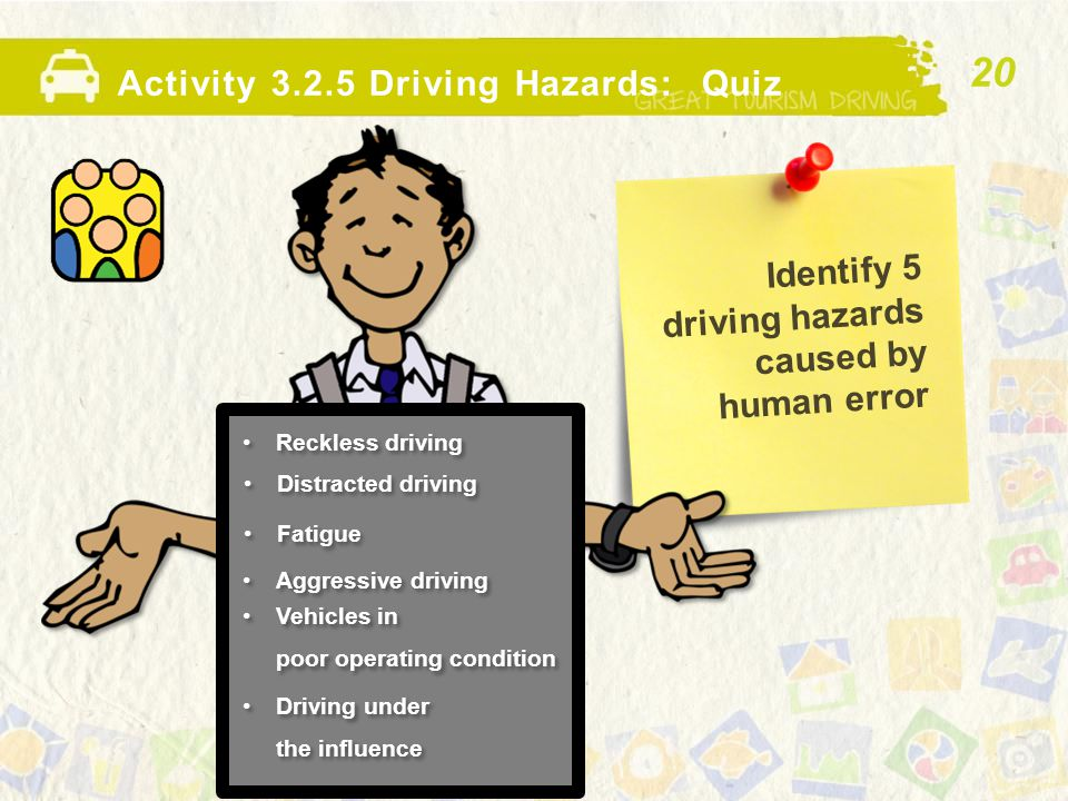 Identify 5 driving hazards caused by human error Activity 3.2.5 Driving Hazards: Quiz Reckless driving 20 Distracted driving Fatigue Aggressive drivin