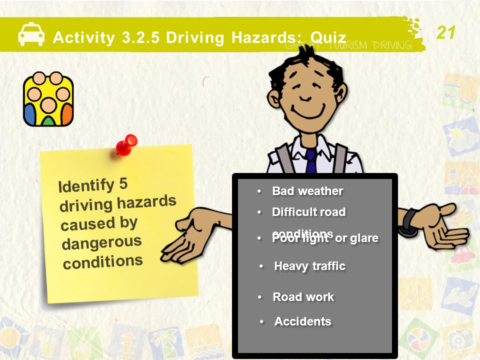 Identify 5 driving hazards caused by dangerous conditions Activity 3.2.5 Driving Hazards: Quiz Bad weather 21 Difficult road conditions Poor light or