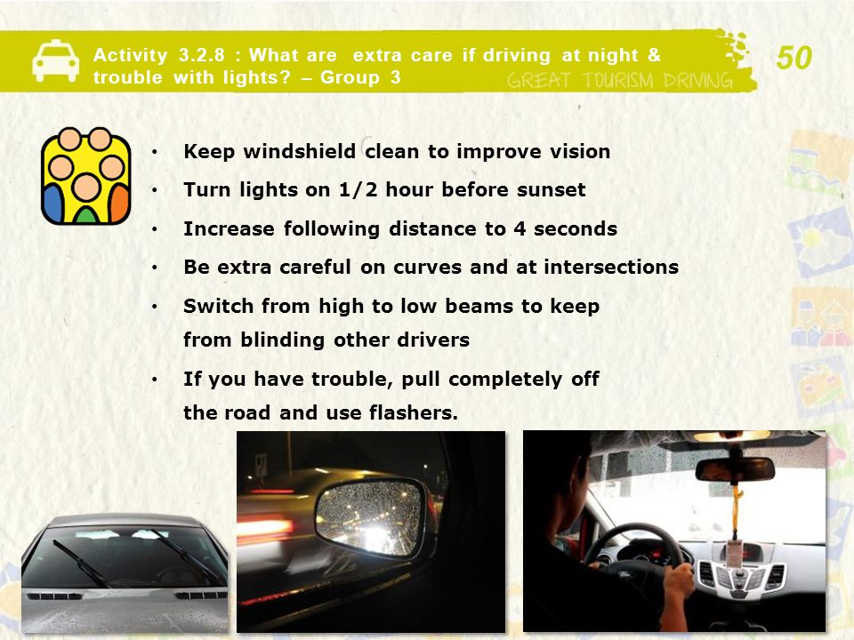 Activity 3.2.8 : What are extra care if driving at night & trouble with lights.