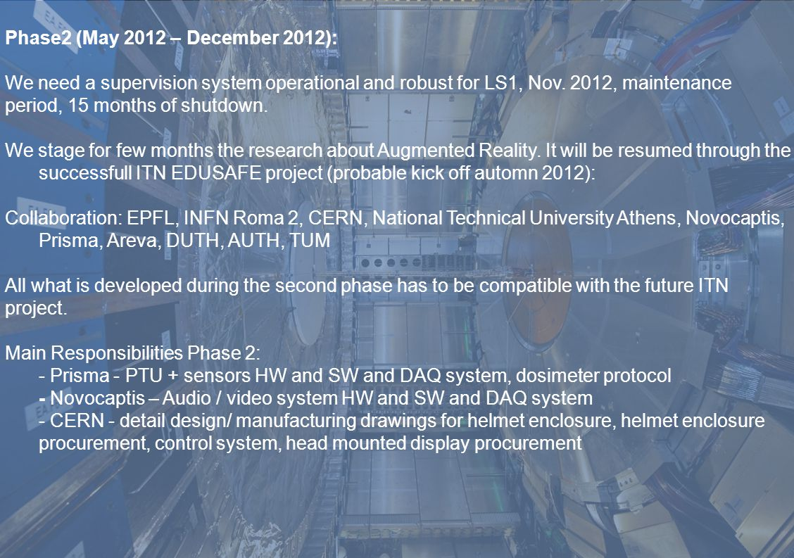 Phase2 (May 2012 – December 2012): We need a supervision system operational and robust for LS1, Nov.