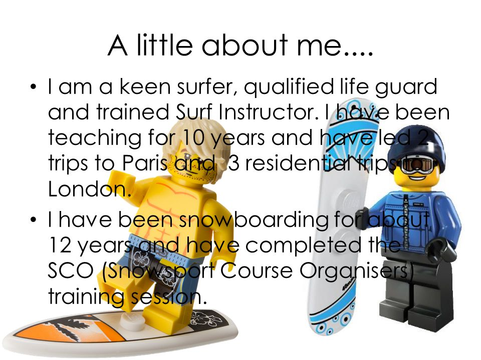 A little about me.... I am a keen surfer, qualified life guard and trained Surf Instructor.