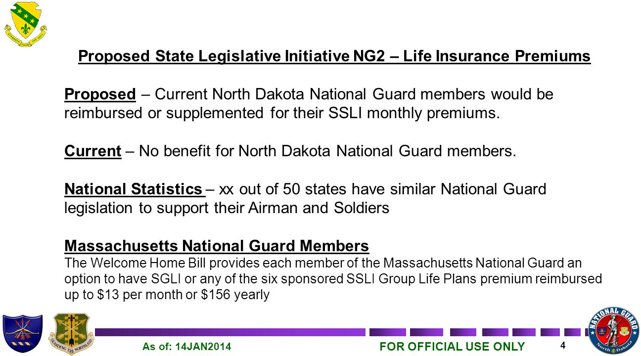 FOR OFFICIAL USE ONLY 5 As of: 14JAN2014 Proposed State Legislative Initiative NG3 – Vehicle Registration Proposed – Current and retired North Dakota National Guard members would be exempt from paying annual vehicle registration fees, one vehicle per member.