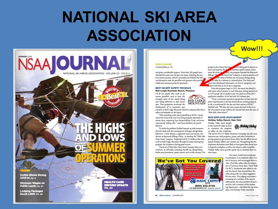 NATIONAL SKI AREA ASSOCIATION Wow!!!