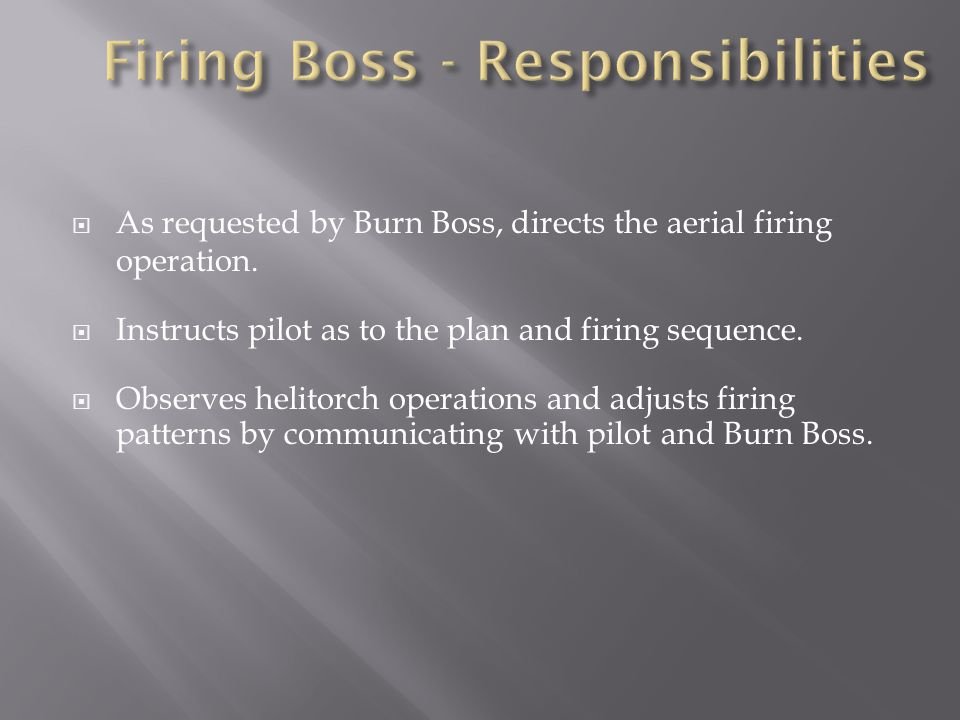  As requested by Burn Boss, directs the aerial firing operation.