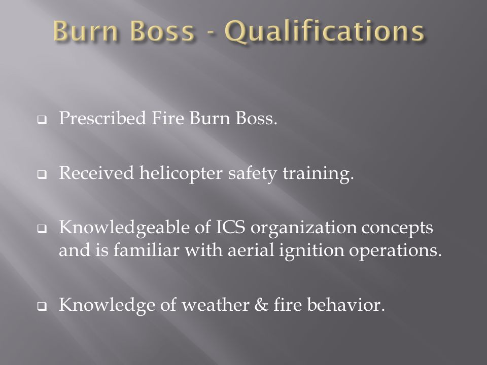  Prescribed Fire Burn Boss.  Received helicopter safety training.