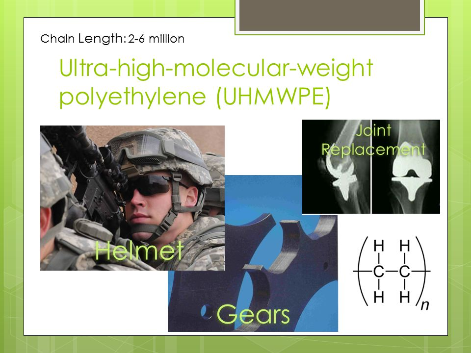 Ultra-high-molecular-weight polyethylene (UHMWPE) Helmet Gears Joint Replacement Chain Length : 2-6 million
