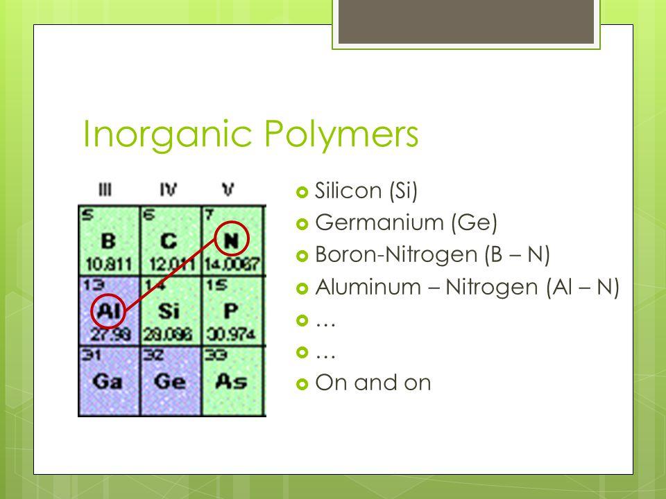 Inorganic Polymers  Silicon (Si)  Germanium (Ge)  Boron-Nitrogen (B – N)  Aluminum – Nitrogen (Al – N)  …  On and on