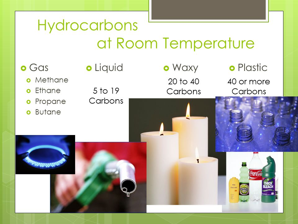 Hydrocarbons at Room Temperature  Gas  Methane  Ethane  Propane  Butane  Plastic  Liquid  Waxy 20 to 40 Carbons 5 to 19 Carbons 40 or more Carbons