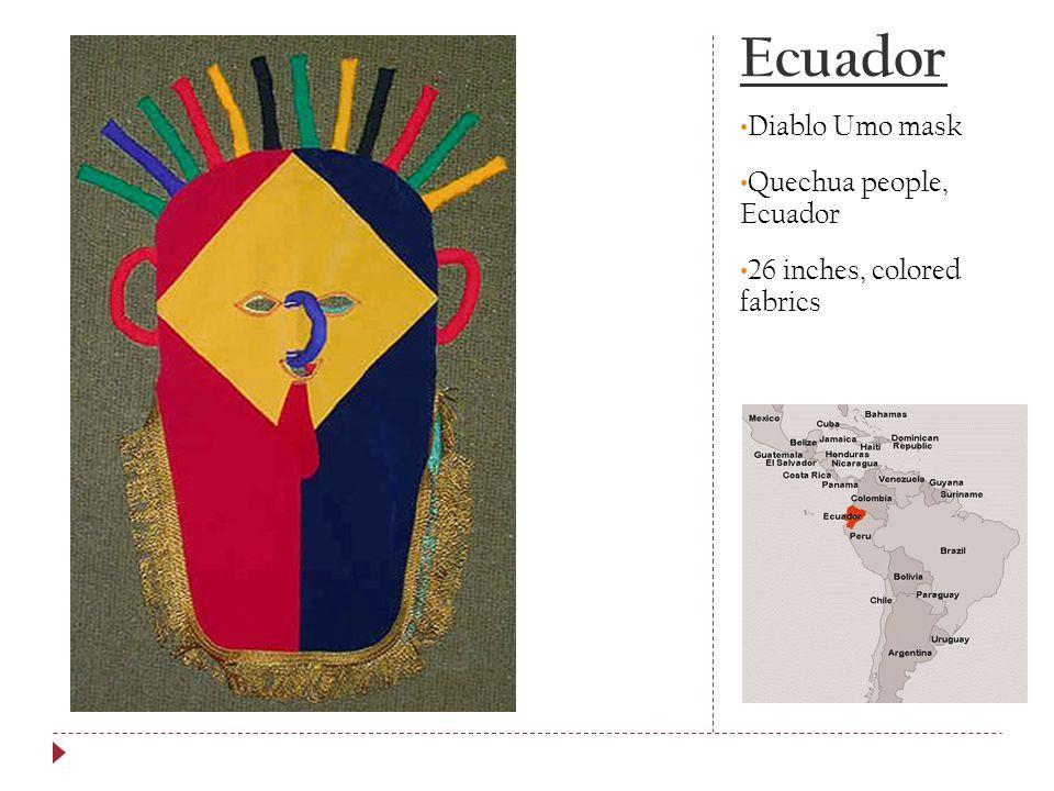 Ecuador Diablo Umo mask Quechua people, Ecuador 26 inches, colored fabrics