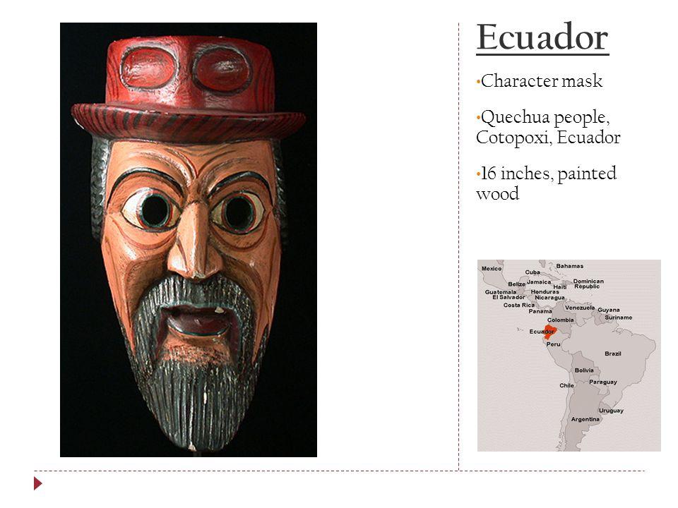 Ecuador Character mask Quechua people, Cotopoxi, Ecuador 16 inches, painted wood