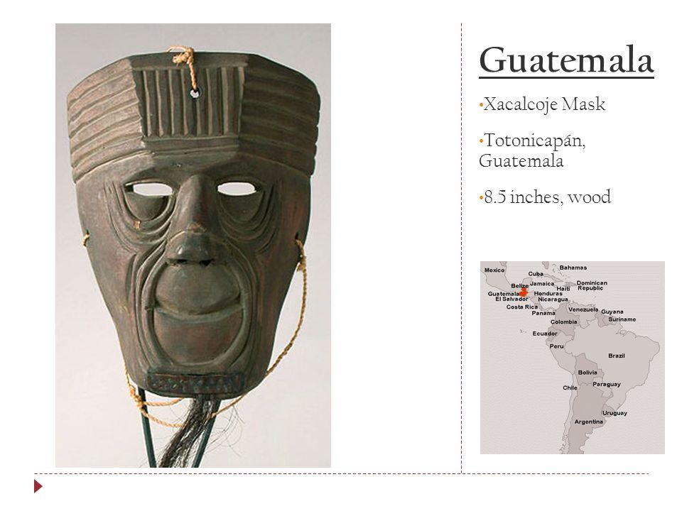 Guatemala Xacalcoje Mask Totonicapán, Guatemala 8.5 inches, wood