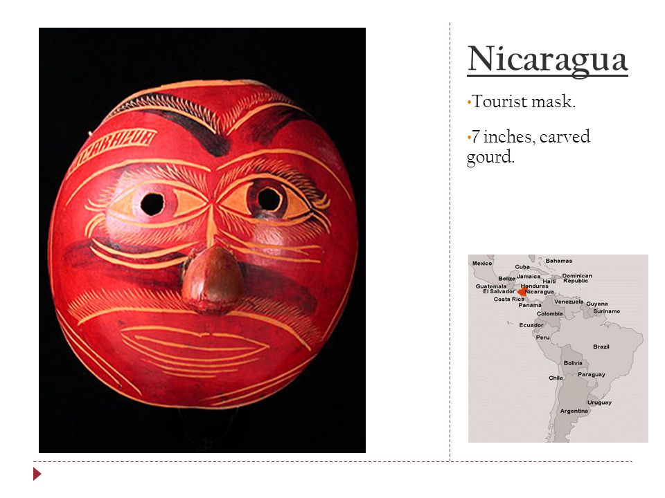 Nicaragua Tourist mask. 7 inches, carved gourd.