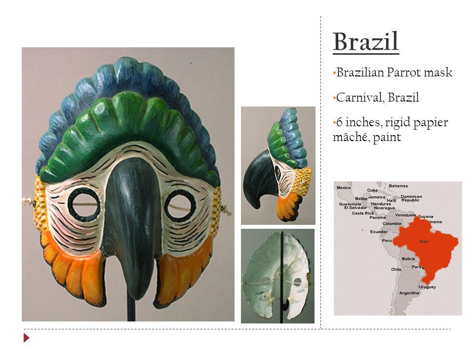 Brazil Brazilian Parrot mask Carnival, Brazil 6 inches, rigid papier mâché, paint