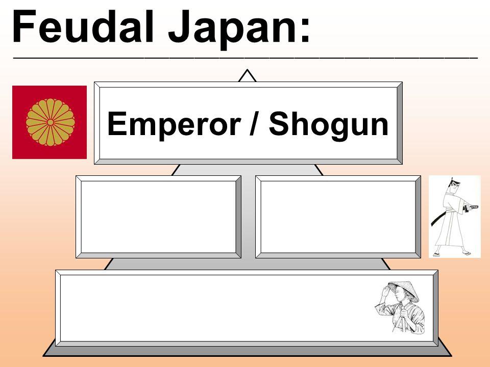 Feudal Japan: ________________________________________________________ Emperor / Shogun Daimyo Peasants Samurai