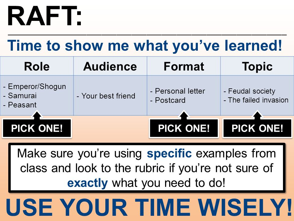 RAFT: ________________________________________________________ USE YOUR TIME WISELY.