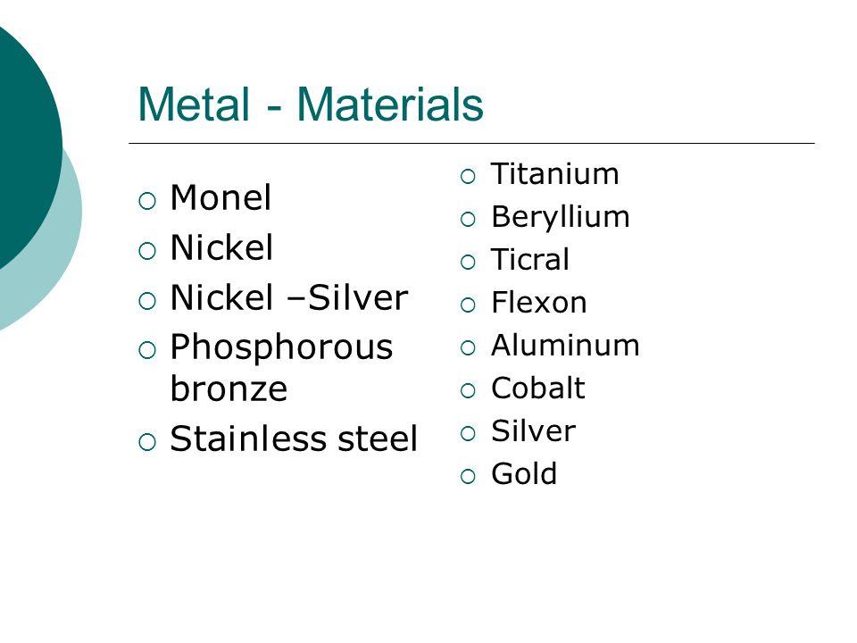 Metal - Materials  Monel  Nickel  Nickel –Silver  Phosphorous bronze  Stainless steel  Titanium  Beryllium  Ticral  Flexon  Aluminum  Cobal