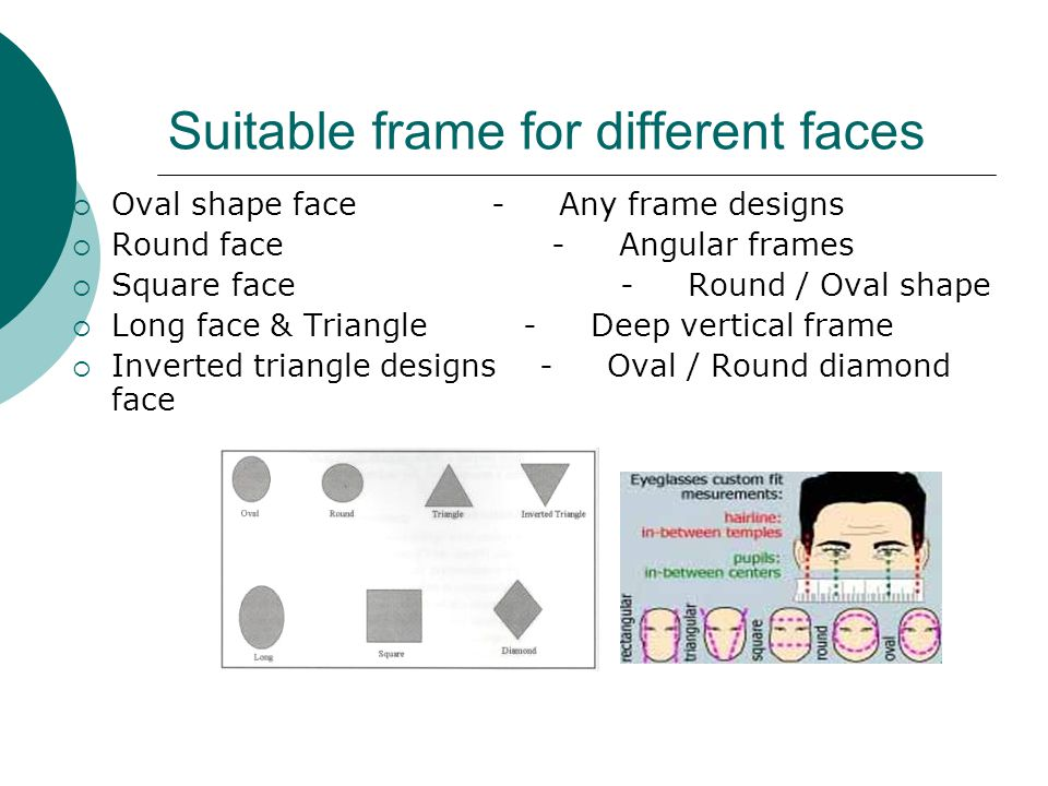 Suitable frame for different faces  Oval shape face - Any frame designs  Round face - Angular frames  Square face - Round / Oval shape  Long face