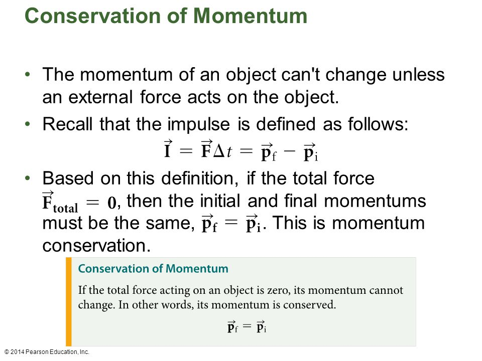 Conservation of Momentum The momentum of an object can't change unless an external force acts on the object. Recall that the impulse is defined as fol