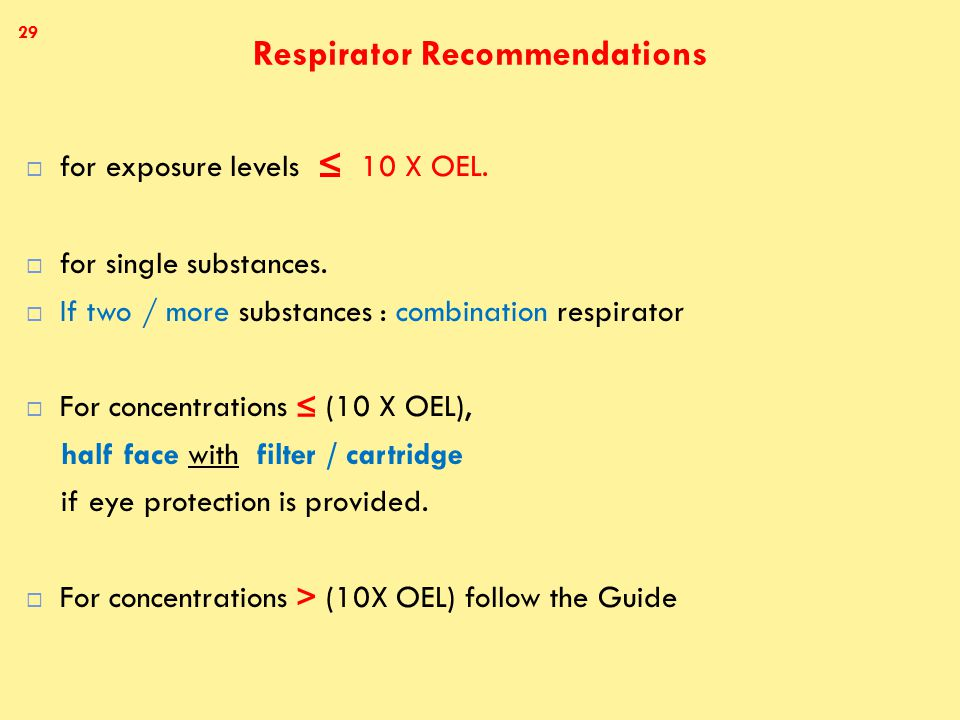 Respirator Recommendations  for exposure levels ≤ 10 X OEL.