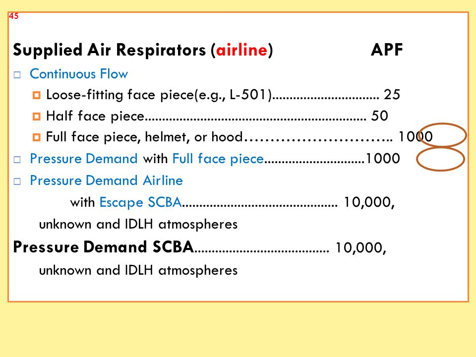 Supplied Air Respirators (airline) APF  Continuous Flow  Loose-fitting face piece(e.g., L-501)...............................