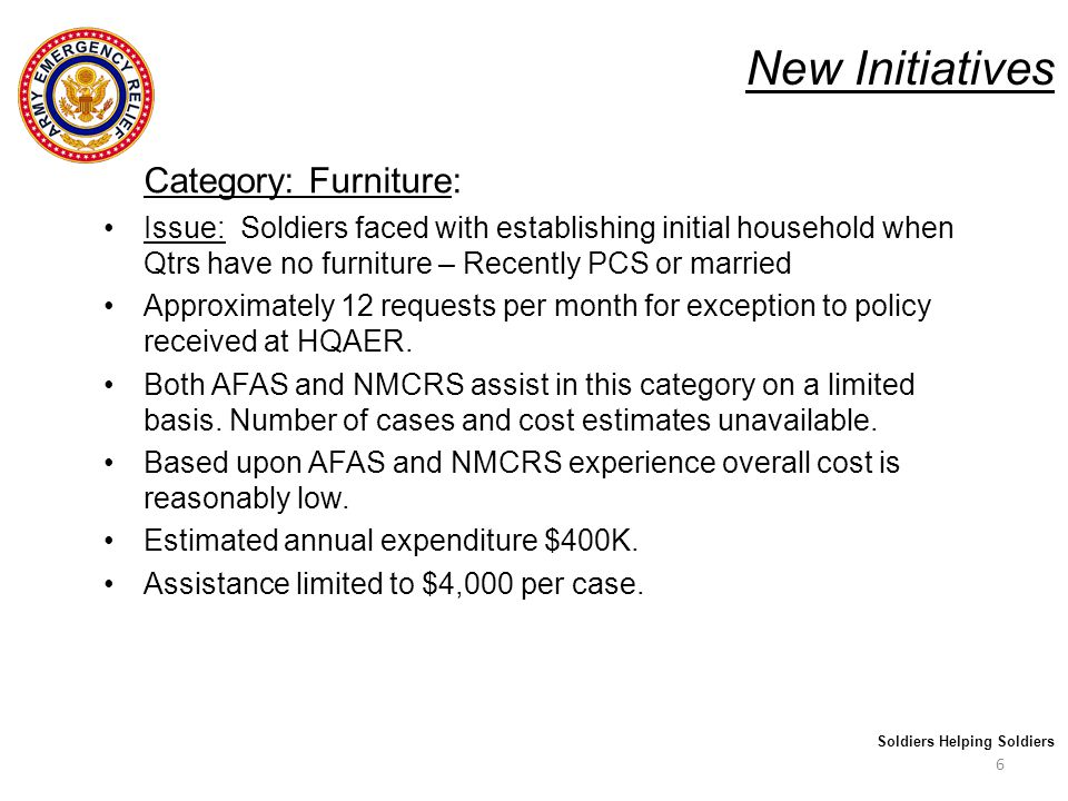 New Initiatives Category: Furniture: Recommendation : AER assistance provided for purchasing of basic essential furniture such as bedding, crib, sofa, and kitchen table.