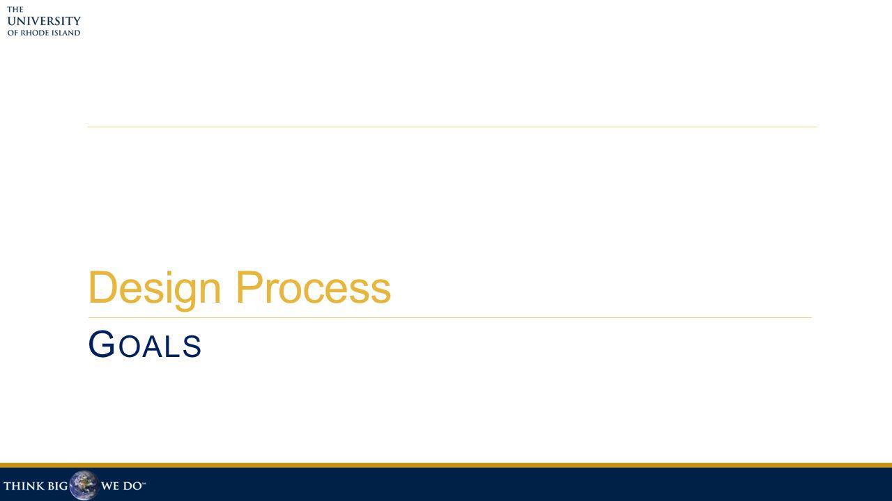 Design Process G OALS