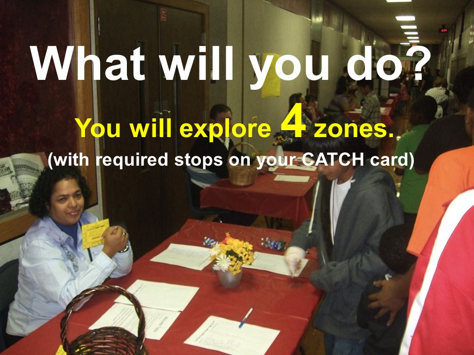 What will you do? You will explore 4 zones. (with required stops on your CATCH card)