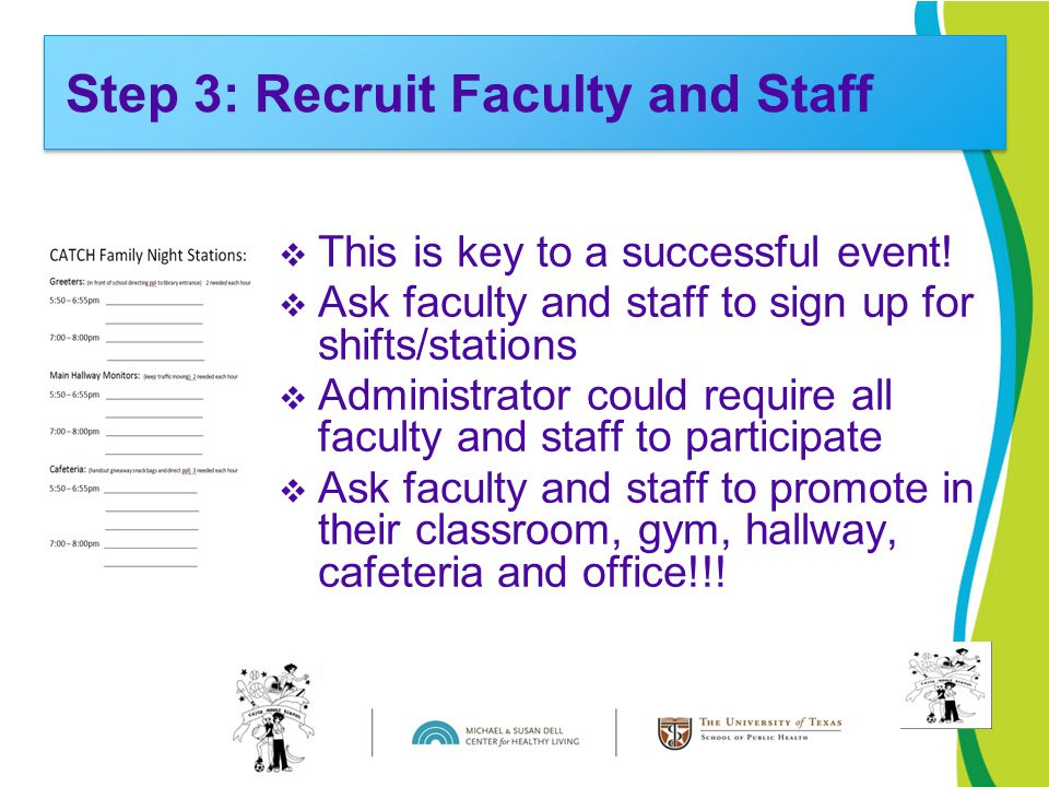  This is key to a successful event!  Ask faculty and staff to sign up for shifts/stations  Administrator could require all faculty and staff to par