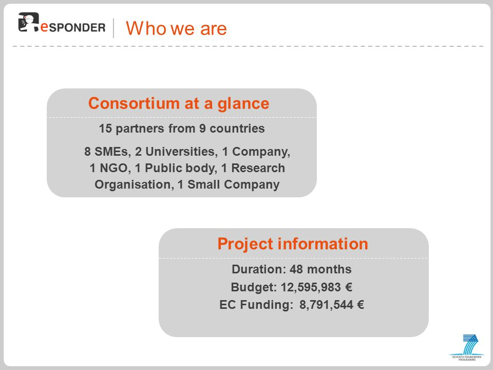 Who we are Consortium at a glance 15 partners from 9 countries 8 SMEs, 2 Universities, 1 Company, 1 NGO, 1 Public body, 1 Research Organisation, 1 Small Company Project information Duration: 48 months Budget: 12,595,983 € EC Funding: 8,791,544 €