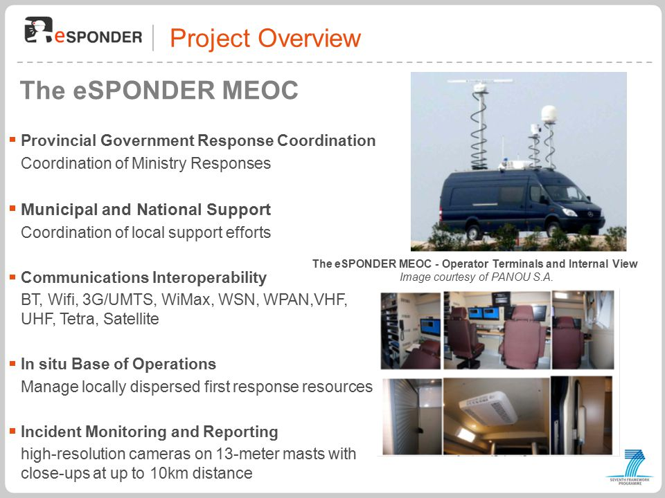 Project Overview The eSPONDER MEOC The eSPONDER MEOC - Operator Terminals and Internal View Image courtesy of PANOU S.A.