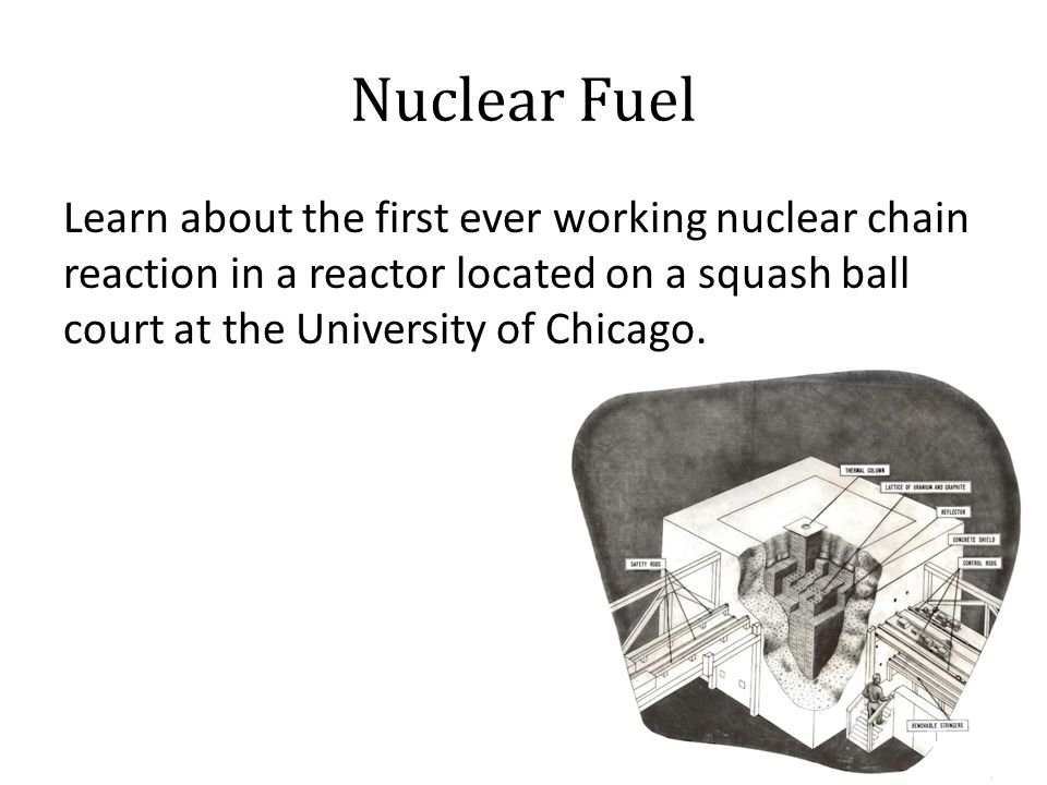 Nuclear Fuel Learn about the first ever working nuclear chain reaction in a reactor located on a squash ball court at the University of Chicago.