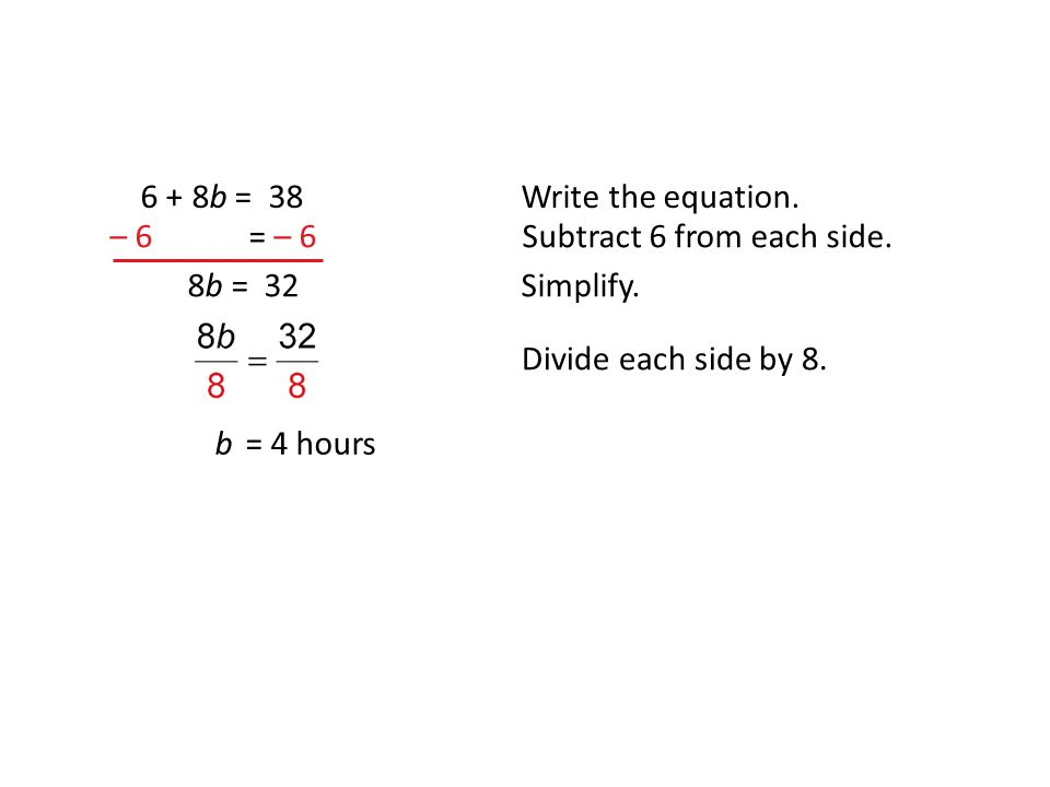 6 + 8b = 38Write the equation. – 6 = – 6Subtract 6 from each side.