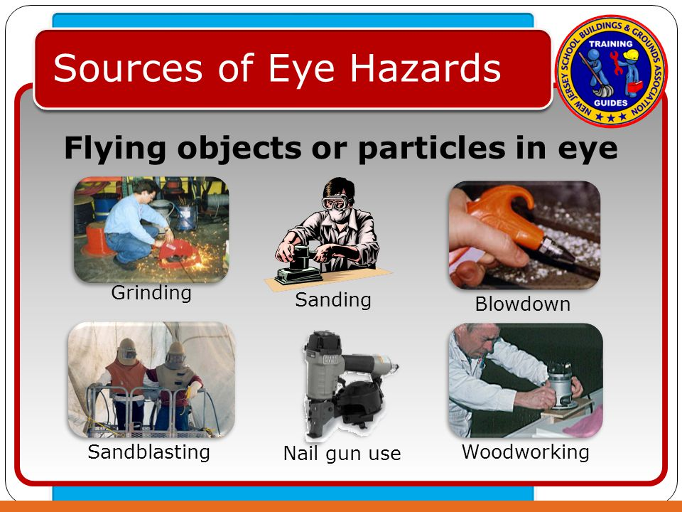 Click to edit Master text styles – Second level Third level – Fourth level » Fifth level Sources of Eye Hazards Flying objects or particles in eye Grinding Sanding Nail gun use Sandblasting Woodworking Blowdown