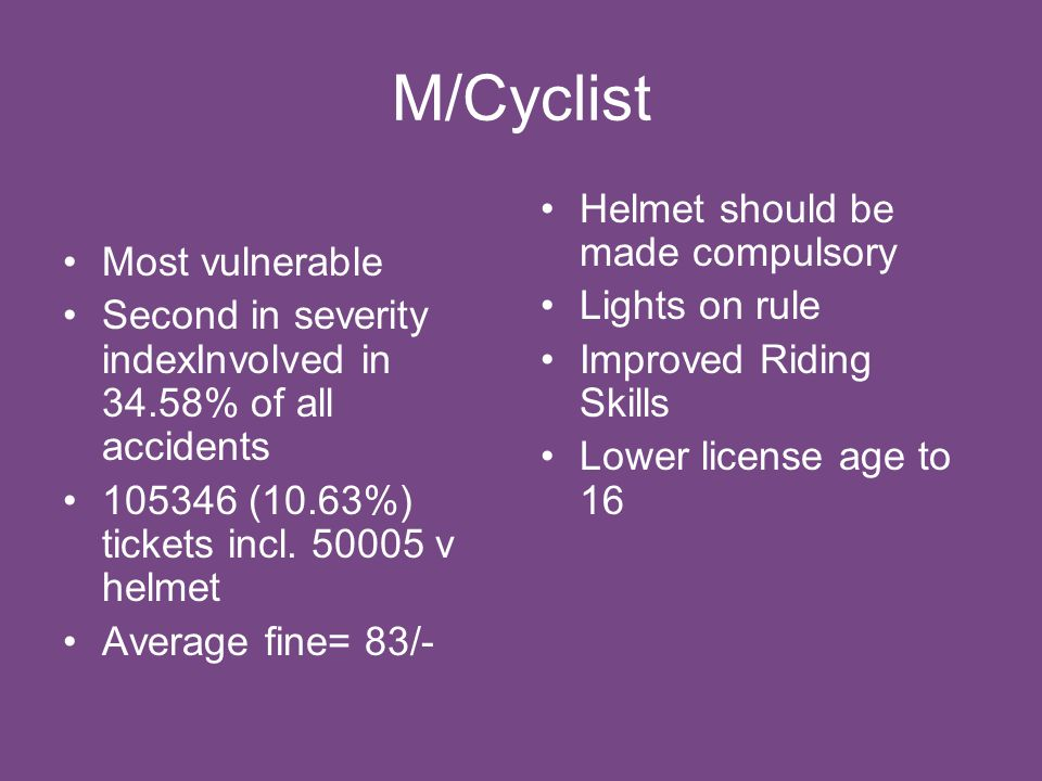 M/Cyclist Most vulnerable Second in severity indexInvolved in 34.58% of all accidents 105346 (10.63%) tickets incl.