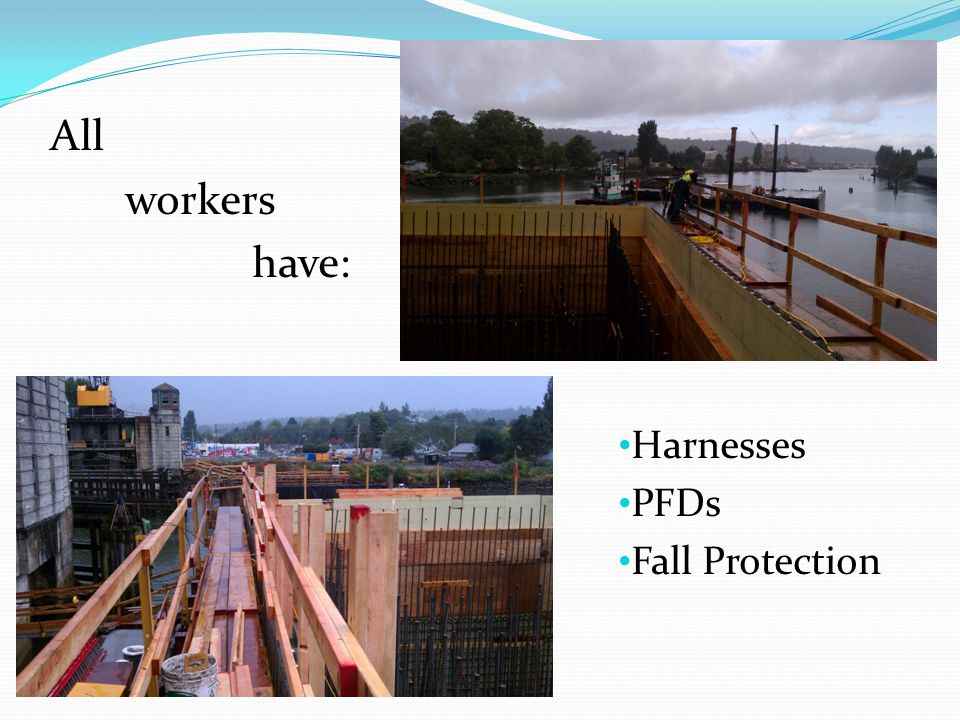All workers have: Harnesses PFDs Fall Protection