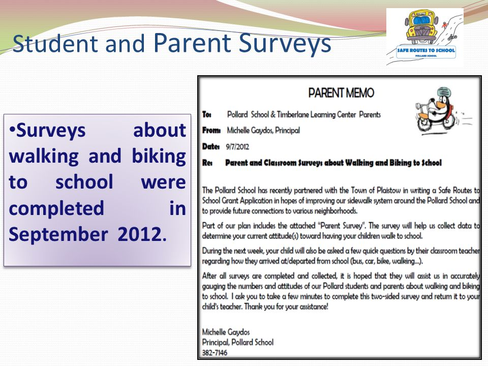 Student Mapping/Surveys Showed: 63% of the students live within 2 miles of the school.