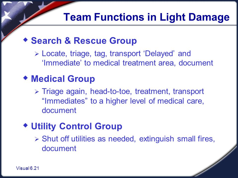 Visual 6.21 Team Functions in Light Damage  Search & Rescue Group  Locate, triage, tag, transport 'Delayed' and 'Immediate' to medical treatment area, document  Medical Group  Triage again, head-to-toe, treatment, transport Immediates to a higher level of medical care, document  Utility Control Group  Shut off utilities as needed, extinguish small fires, document
