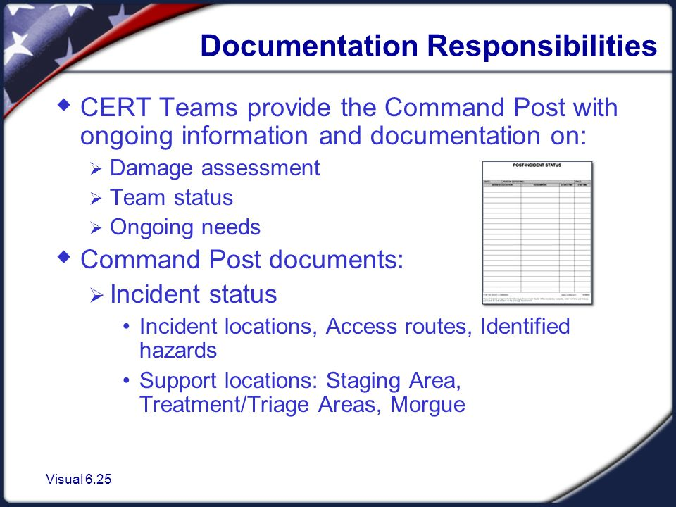Visual 6.25 Documentation Responsibilities  CERT Teams provide the Command Post with ongoing information and documentation on:  Damage assessment  Team status  Ongoing needs  Command Post documents:  Incident status Incident locations, Access routes, Identified hazards Support locations: Staging Area, Treatment/Triage Areas, Morgue
