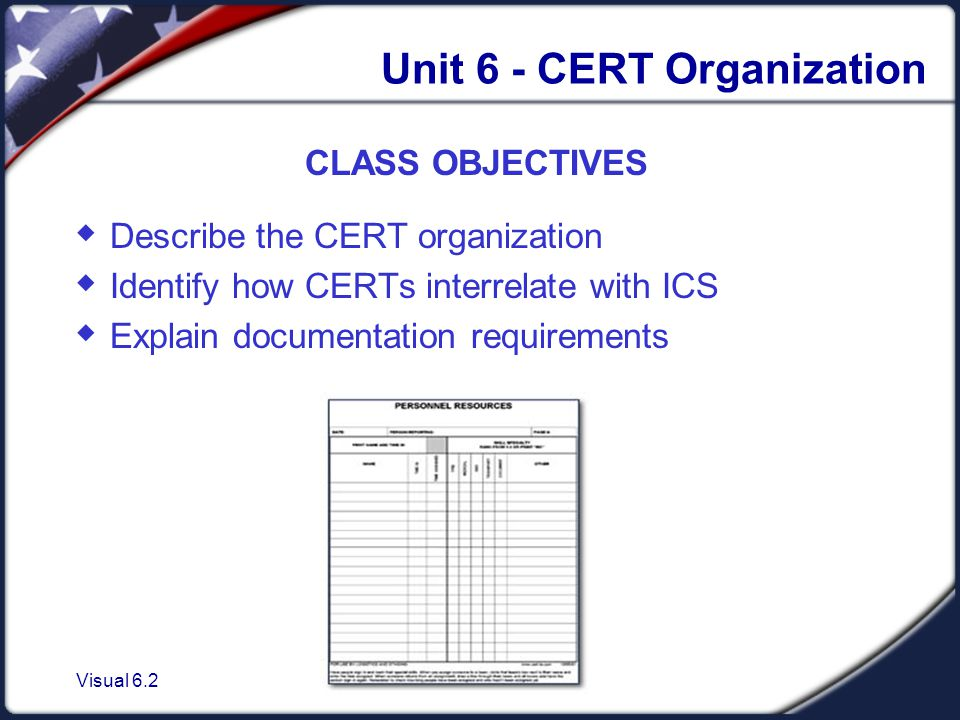 Visual 6.2 Unit 6 - CERT Organization CLASS OBJECTIVES  Describe the CERT organization  Identify how CERTs interrelate with ICS  Explain documentation requirements