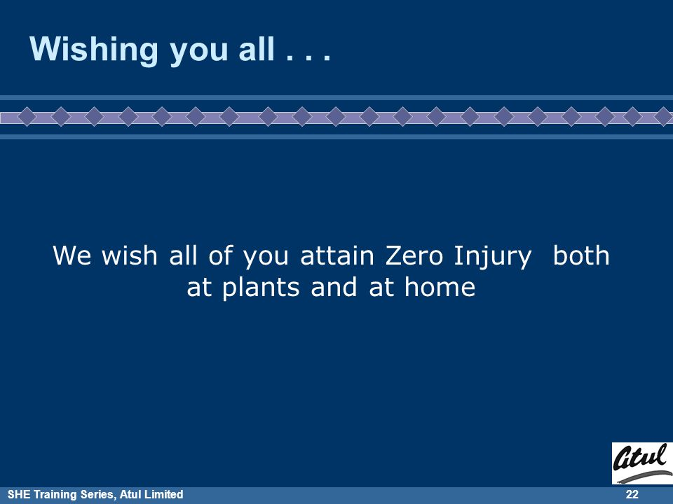 SHE Training Series, Atul Limited21 When you go back to your plant, what will you do specifically for Zero Injury Program.