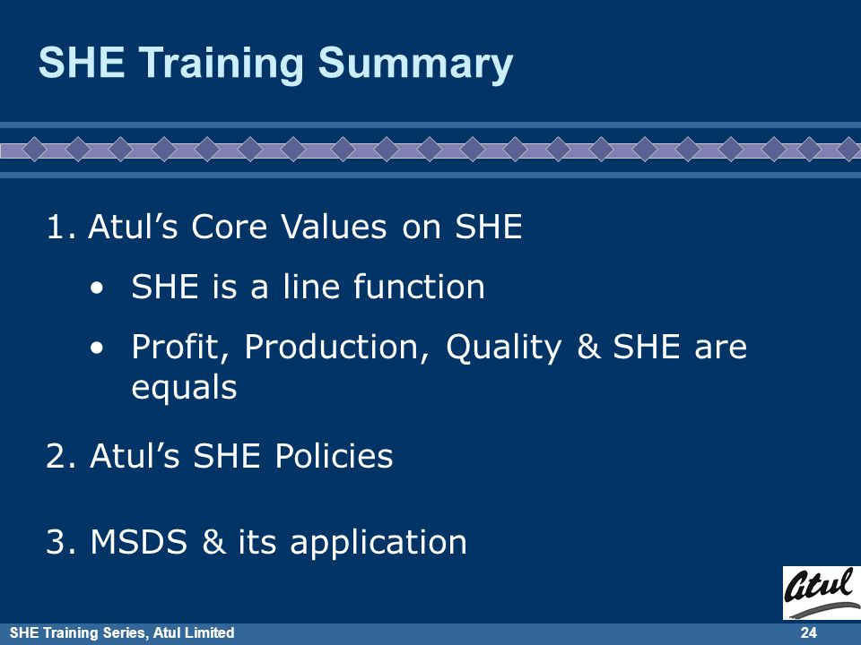SHE Training Series, Atul Limited23 Let us recall what we learnt last 2 days SHE Training Summary