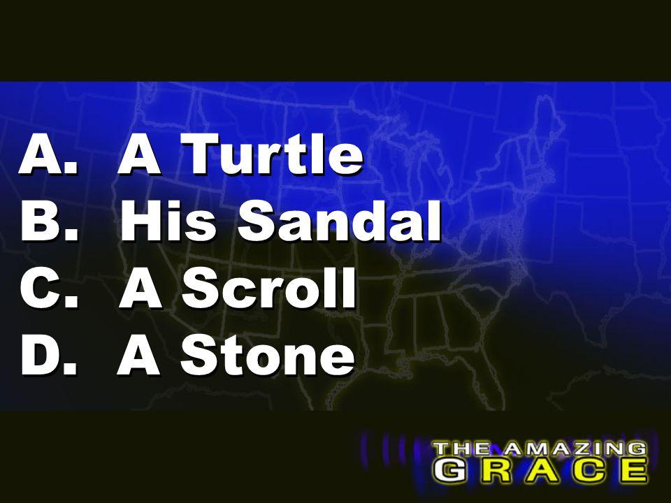 A. A Turtle B. His Sandal C. A Scroll D. A Stone