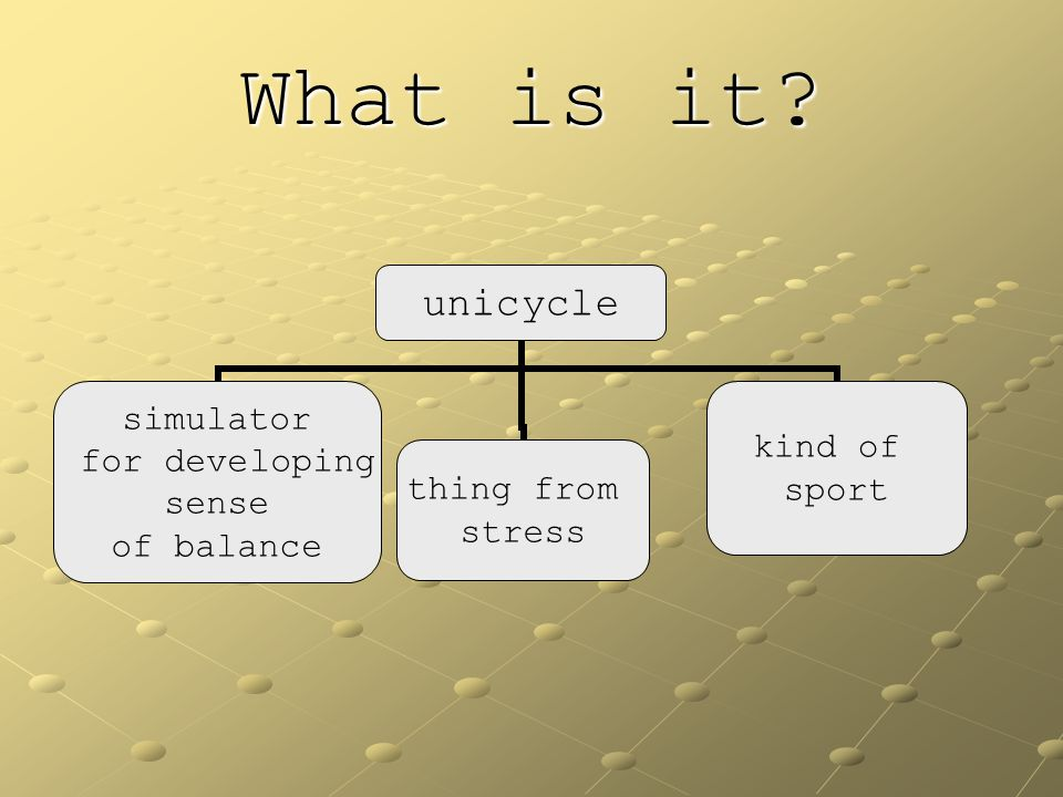 What is it? unicycle simulator for developing sense of balance thing from stress kind of sport