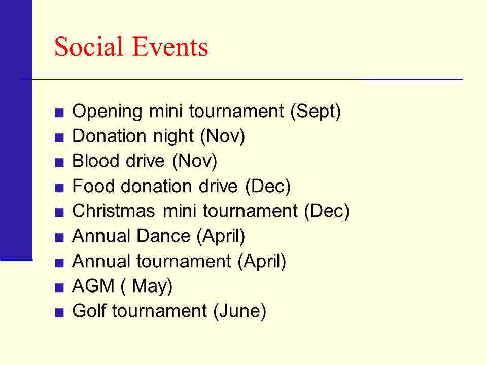 Annual Tournament 2012 will be the 43 rd annual tournament Primary fund raising activity of the club Allows us to support 50+ charitable organizations providing a variety of services to our greater community Approximately $1 Million in donations made through 2010