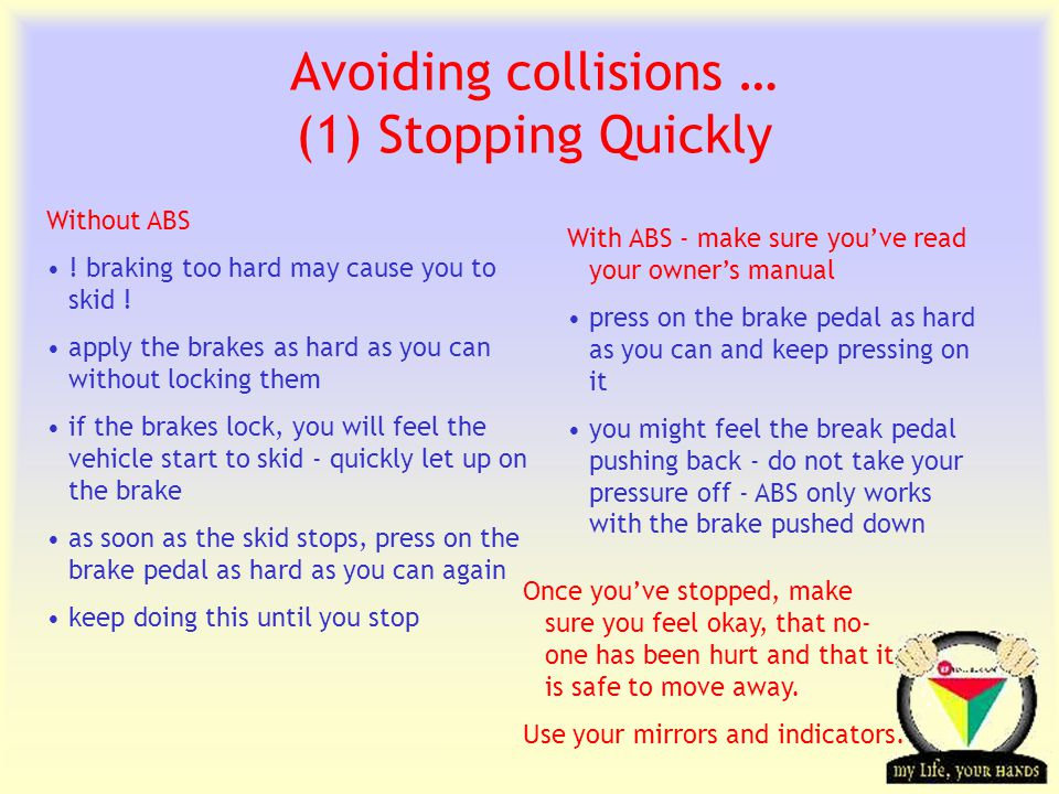 Transportation Tuesday Avoiding collisions … (1) Stopping Quickly With ABS - make sure you've read your owner's manual press on the brake pedal as har