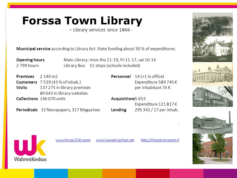 Forssa Town Library - Library services since 1866 - Municipal service according to Library Act.