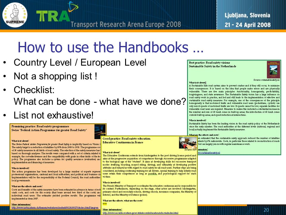 20 How to use the Handbooks … Country Level / European Level Not a shopping list .